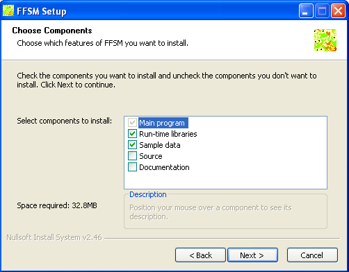 FFSM++ installer for windows, component selection page.